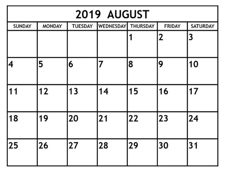 Blank August 2019 Calendar Printable Template Editable Wallpaper