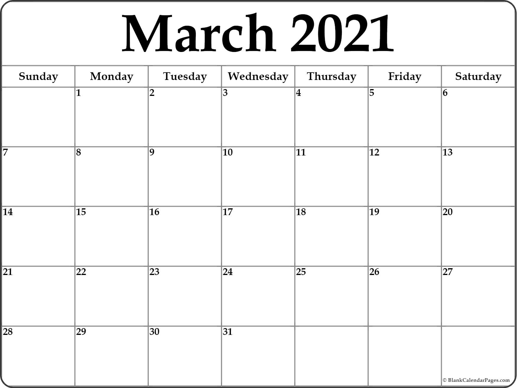 March 20 Calendar Printable   Monthly Template
