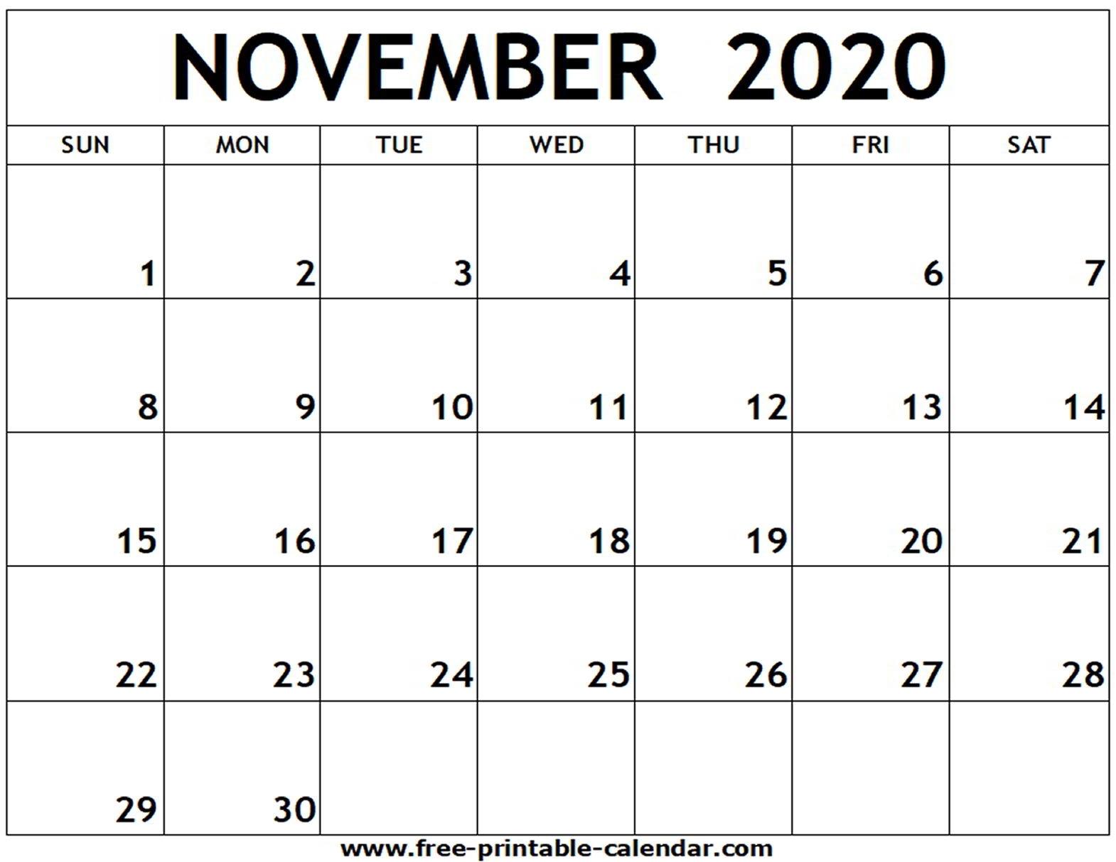 Free Printable Editable Calendar November 2020   Month ...