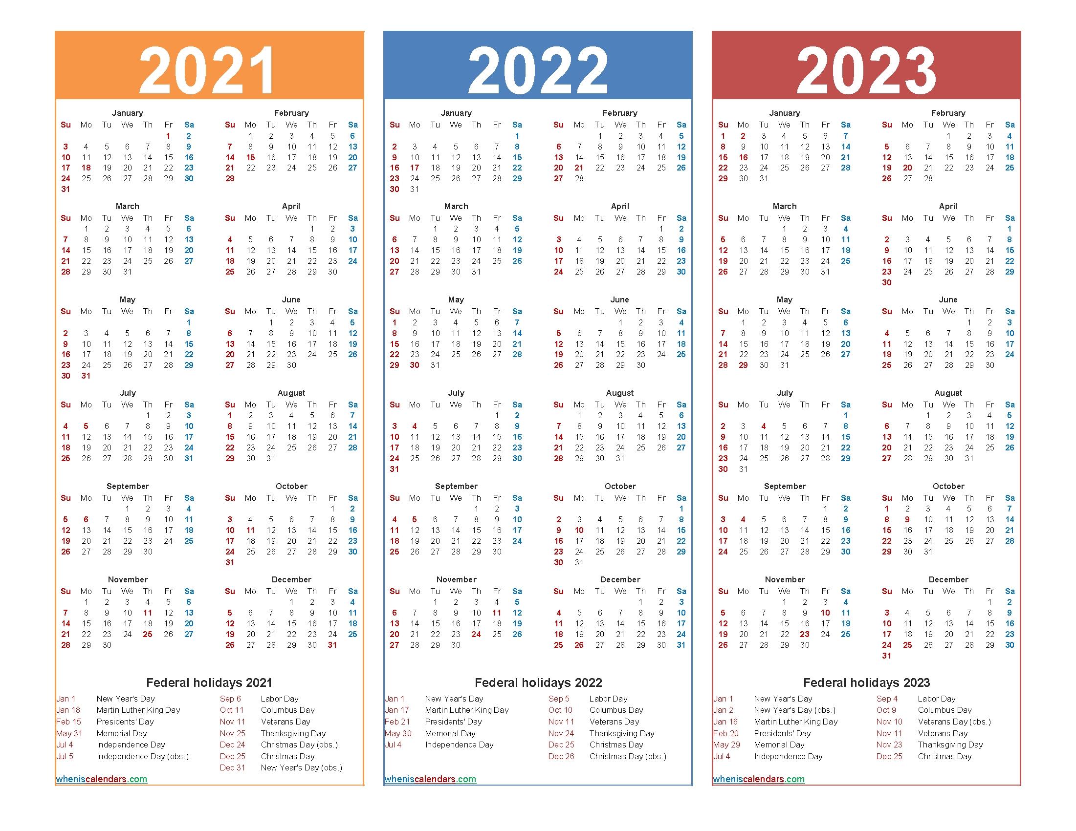 3 Year Calendar Printable 2021 2022 2023 | Month Calendar ...