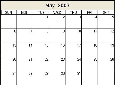 May 2007 Printable Calendar