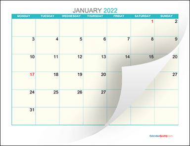 Monthly Monday 2022 Calendar Printable   Calendar Quickly