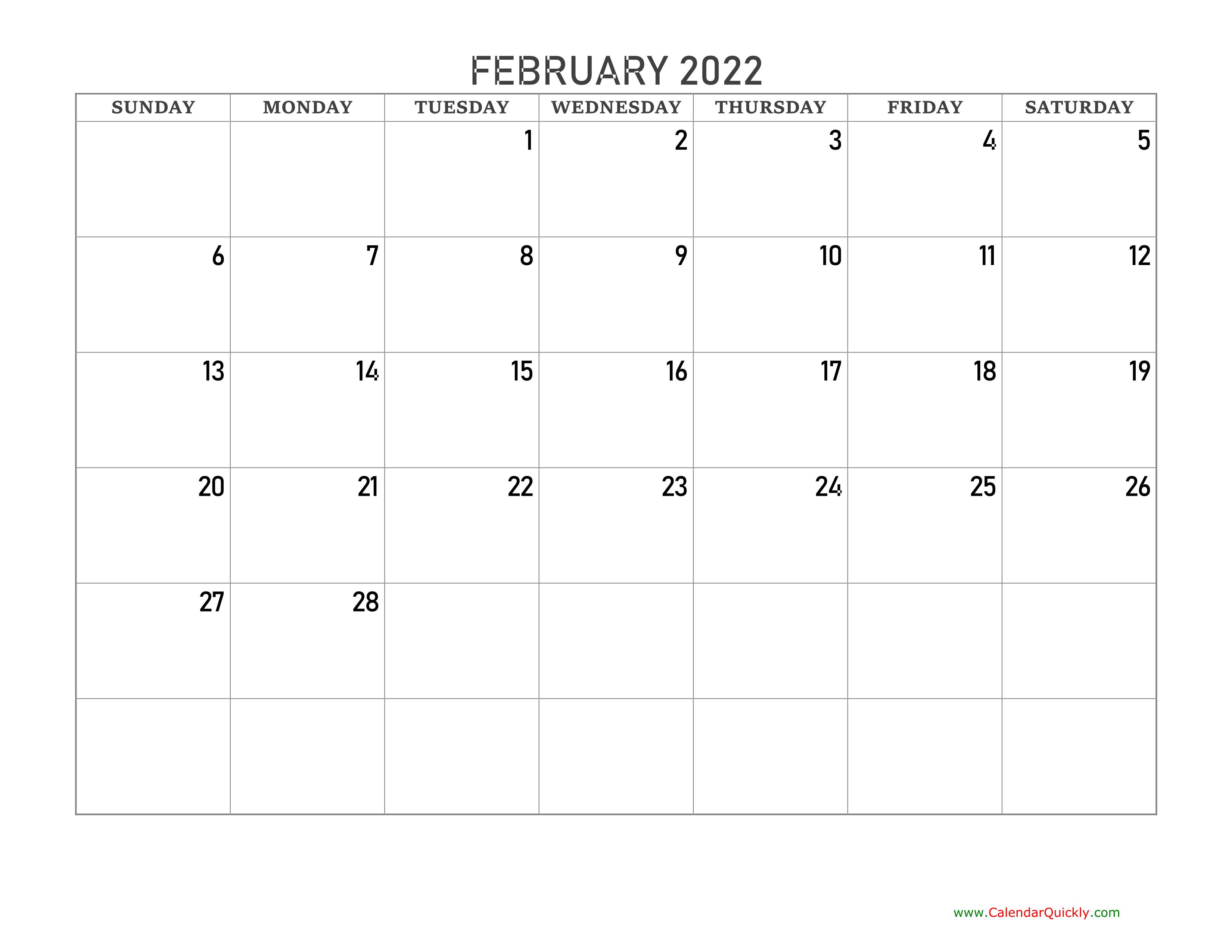 February 2022 Blank Calendar | Calendar Quickly