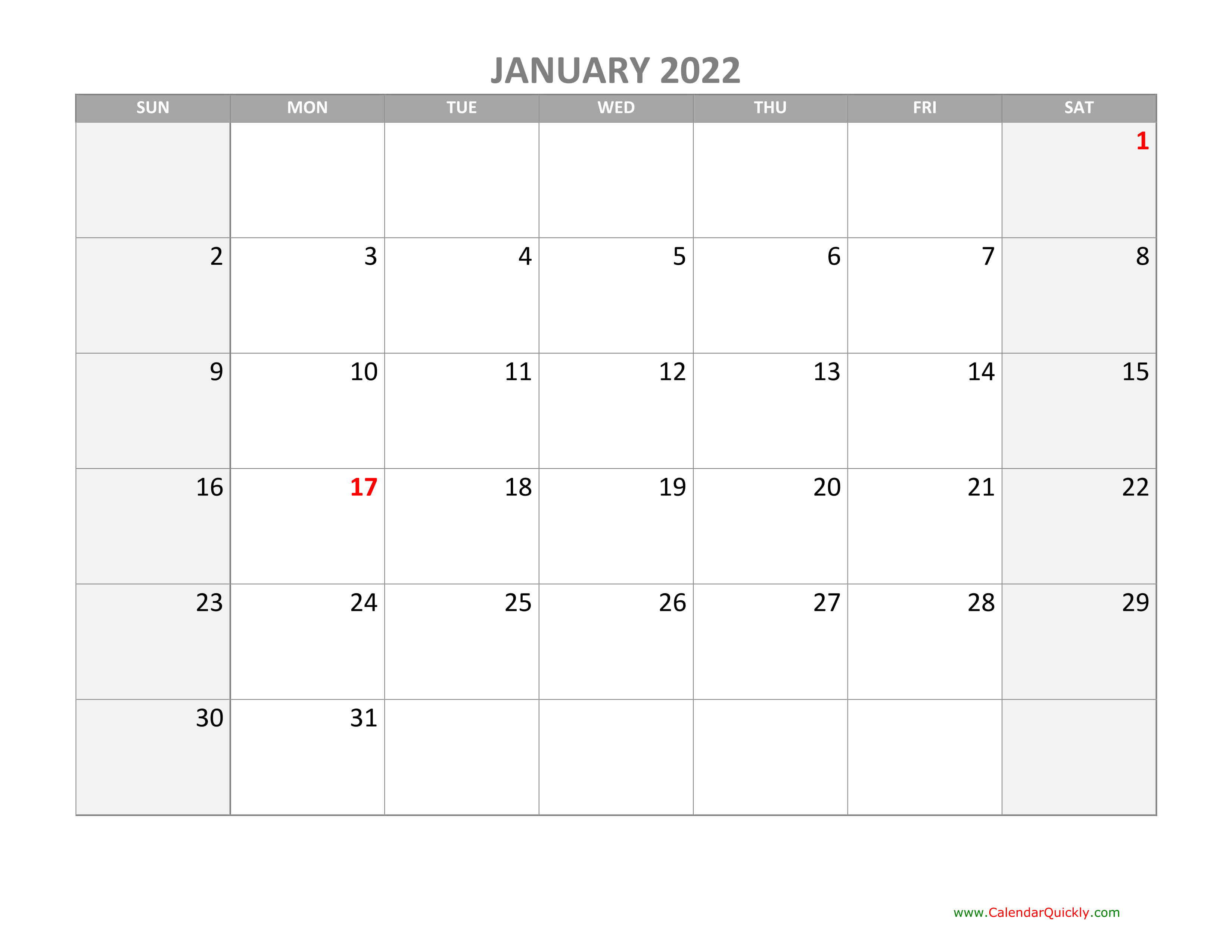 Monthly Calendar 2022 with Holidays | Calendar Quickly