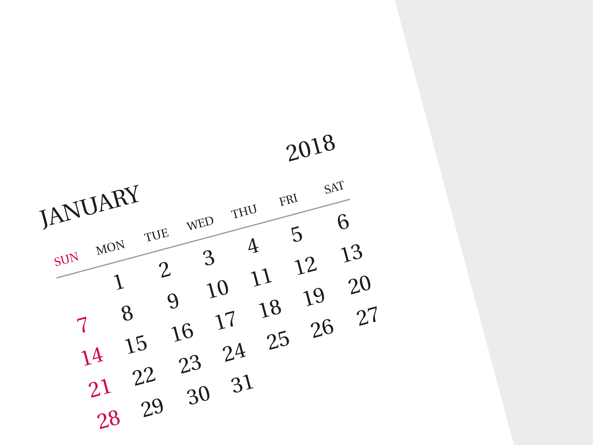2018 printable monthly calendar. Photo A3 and A2 wall
