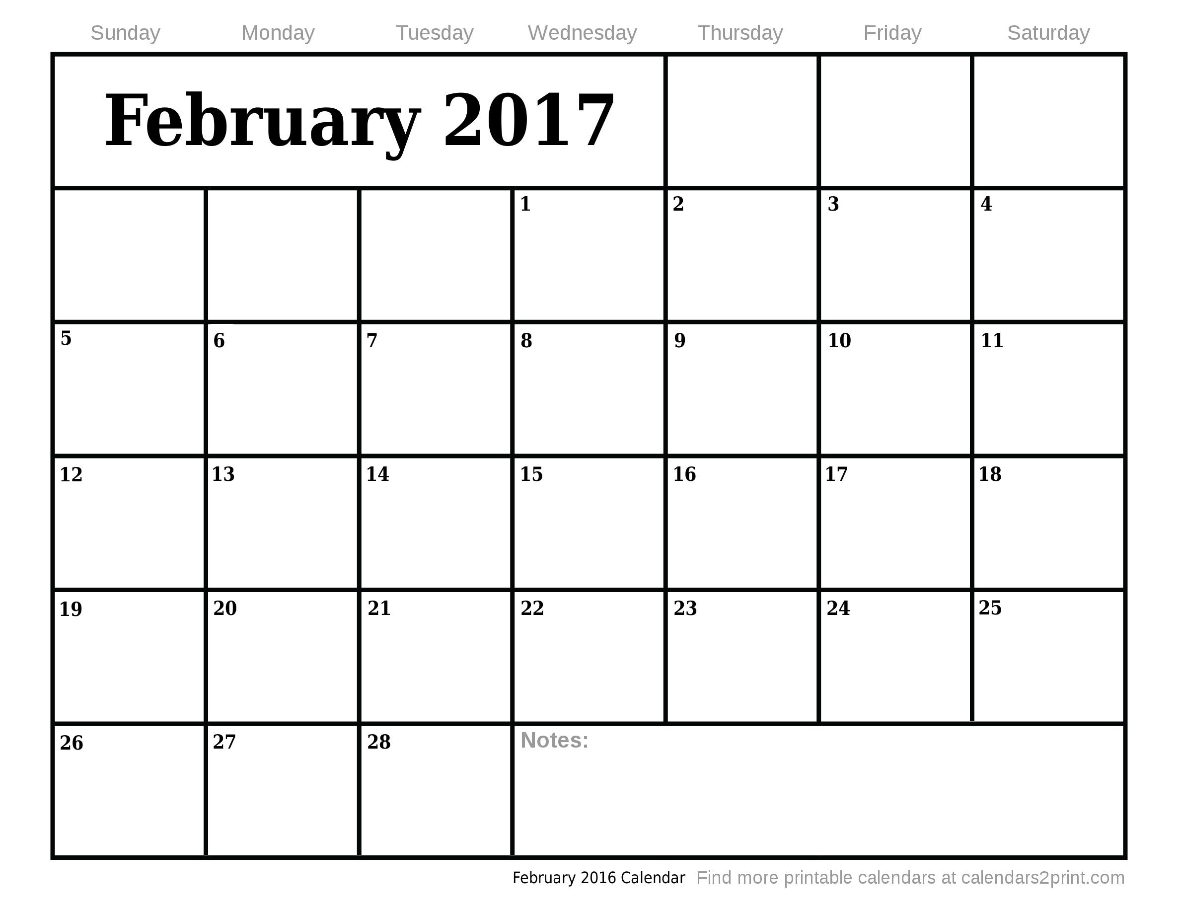 February Printable Calendar