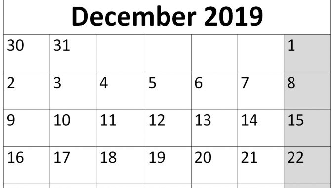 december 2019 calendar page