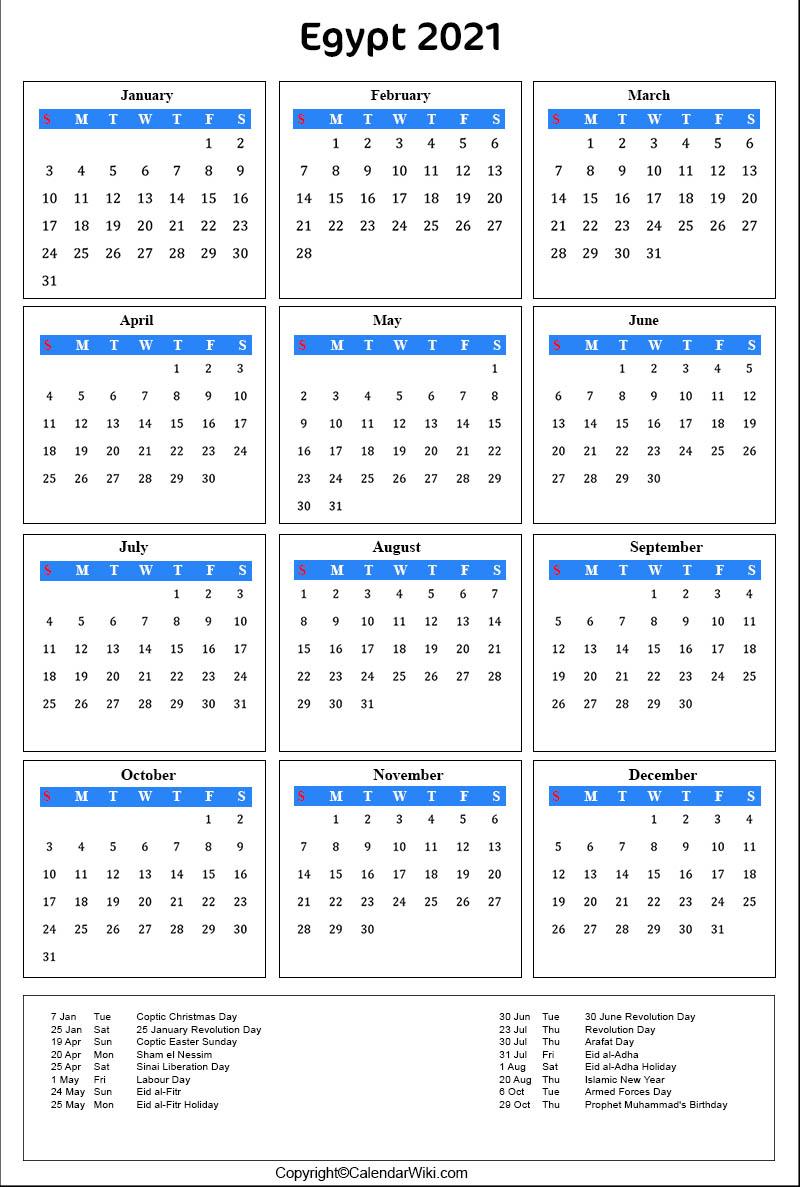 Printable Egypt Calendar 2021 with Holidays Public Holidays