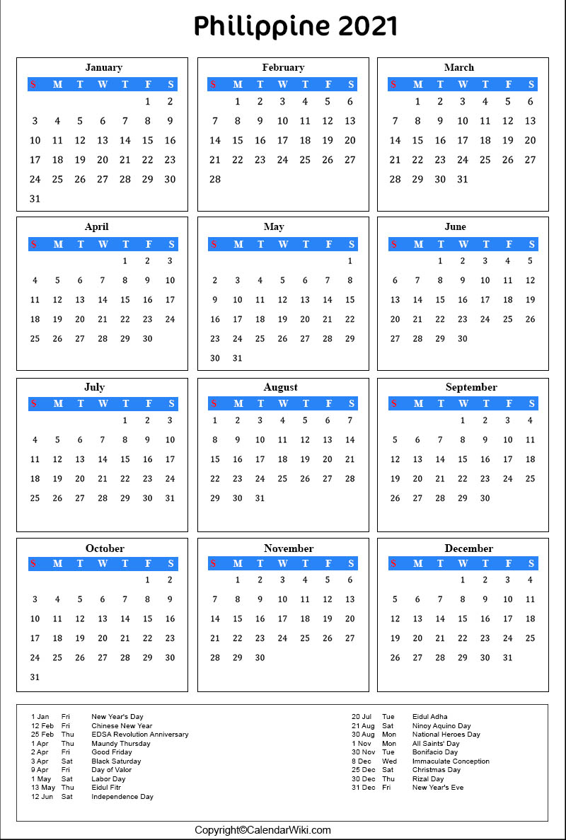 Printable Philippines Calendar 2021 with Holidays [Public ...