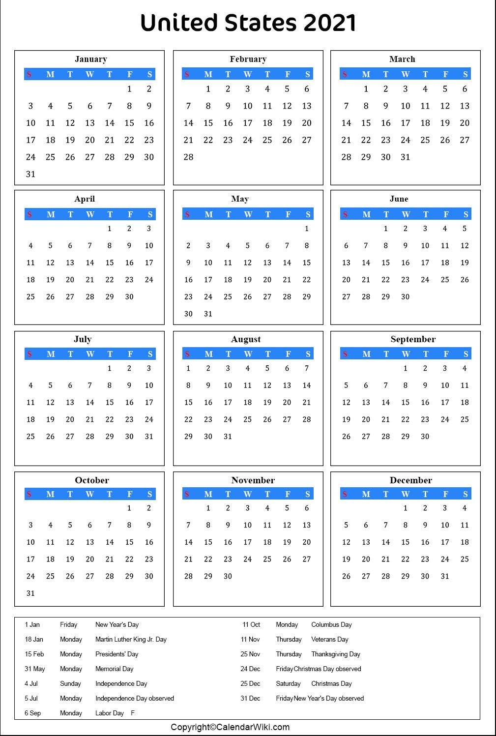 Google calendar doesn't show any holidays by default. Printable Us Calendar 2021 with Holidays Public Holidays