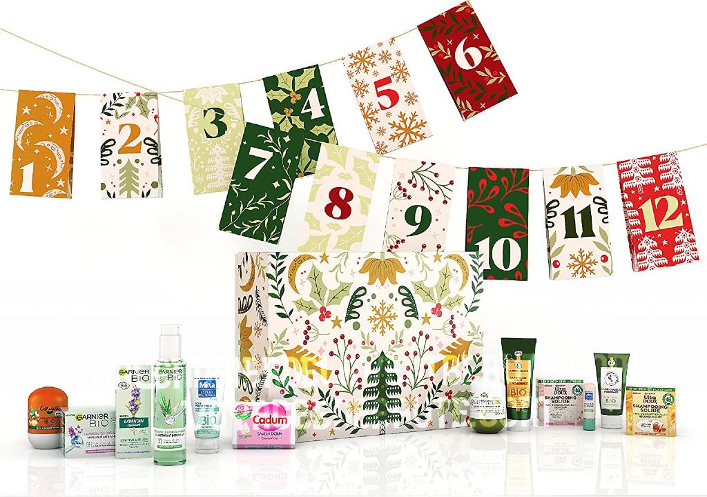 Calendrier de l'Avent Beauté Bio 2021 Garnier cosmétiques et soins du visage naturels, clean beauty, spoiler, contenu, code promo, unboxing