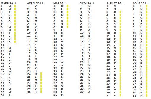 Calendrier scolaire 2011 2010 zone a