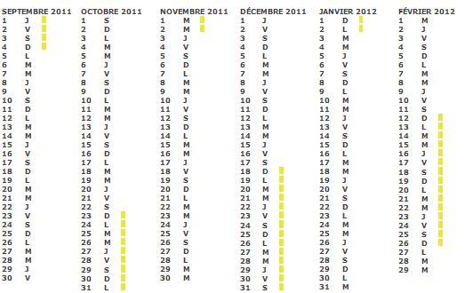 Calendrier scolaire 2011 2012 zone a