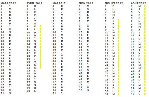 Calendrier scolaire 2012 2011 zone a