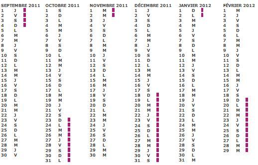 Calendrier Vacances scolaire 2011 2012 zone c