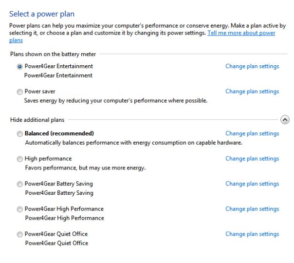 power options, change plan setting