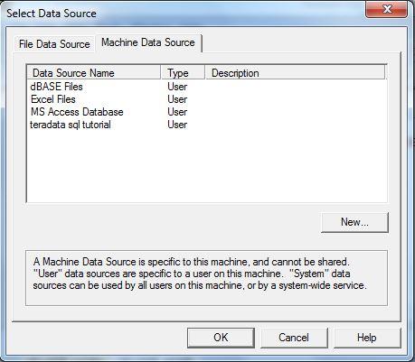 Teradata Select Data Source