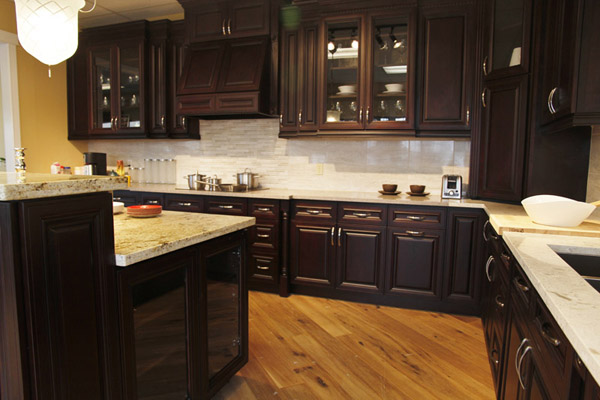 chocolate kitchen cabinets large floor tiles for cherry cabinet calgary depot
