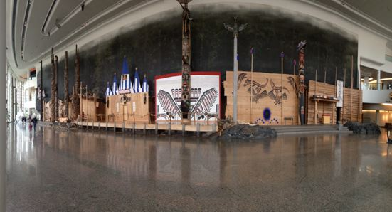 A panorama of the main entrance hall of the Museum of Canadian History