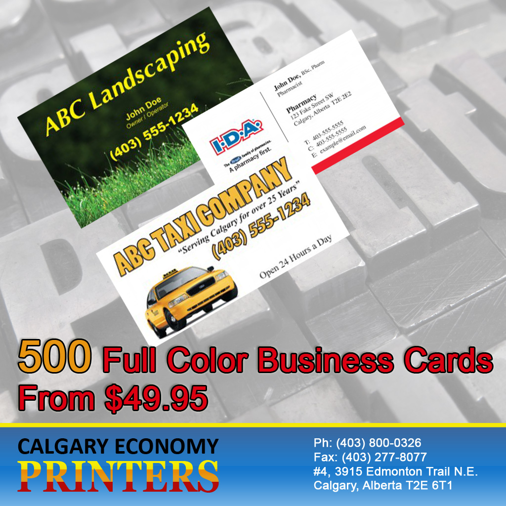 Business Card Printing Done Right Everytime! Calgary Economy Printers