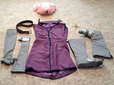 I had a lot of help sewing my cosplay costume together, and learned from the experience that sewing is much harder than I thought.  These are the finished pieces of it. I cosplayed the character Presea Combatir from the 2004 video game Tales of Symphonia.