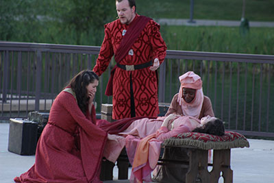 Robyn Ord as Lady Capulet, left, DJ Gallety as Lord Capulet, and Lennette Randall as the Nurse morn the apparent death of Brianna Johnston as Juliet.