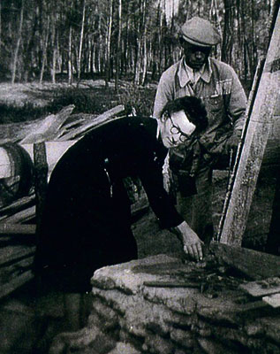 Marie Fortier is shown here during the construction of a permanent stone memorial to the crew of Halifax 506. Fortier raised funds to build the monument.  Photo courtesy of Stephen Taylor