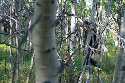 Cory Cardinal finding a half-dozen survey stakes behind his mother's Tsuu T'ina Nation house.