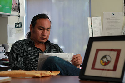 """Cory Cardinal, the co-ordinator of Mount Royal University's Native Student Centre, quotes Chief Bull Head, """"My people once owned all of this country, and went where they wanted. And now you'll take away from us this remnant that is left to us."""""""