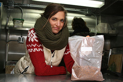 Meaghan Fitzpatrick of Yummi Yogis with one of their super foods, the Chaga mushroom