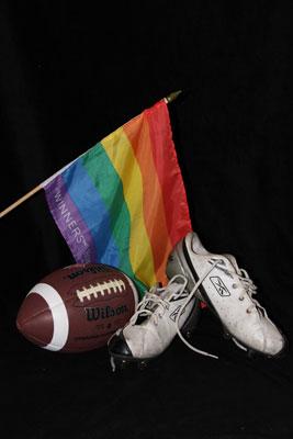 Football and pride flag