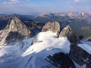general 17 - View of Bugaboo Spire from above photo by Tim McAllister Bugaboo Mountain Guides