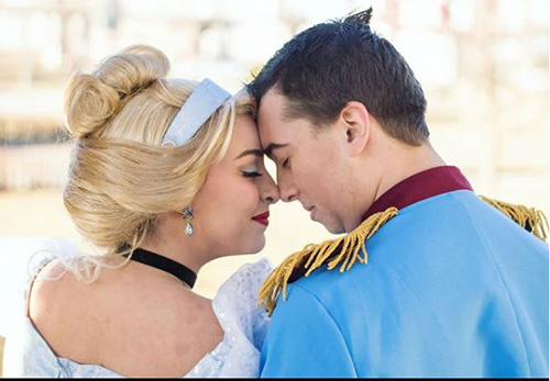 Makenna Llewellyn and Steven Morasch in character as Prince Charming and Cinderella, they have come a long way since their first party together. Photo courtesy of Katt Wyllie Photography.