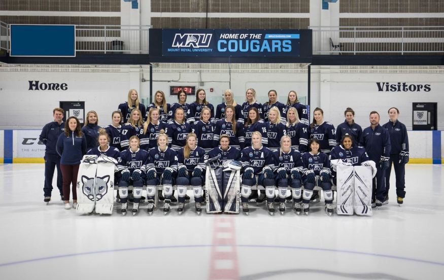 The MRU women's hockey team finished their pre-season with a record of 3-3-0, and will hope to improve on their sixth place Canada West finish from last year. Photo Credit: Cougar Athletics