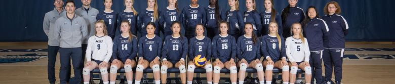 The MRU women's volleyball team has had an outstanding start to their 2019 season, picking up wins in all four of their October matchups. Photo credit: Cougar Athletics