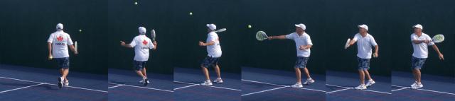 Calgary padel tennis retreive a lob