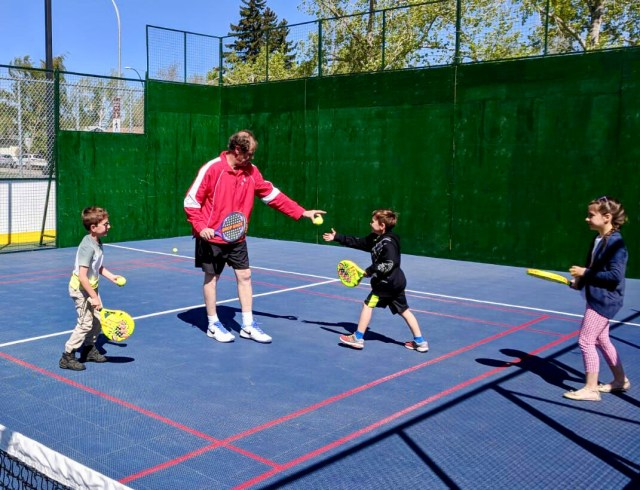 Kids learn to play padel with Bill Stamile, one of our two certified padel instructors