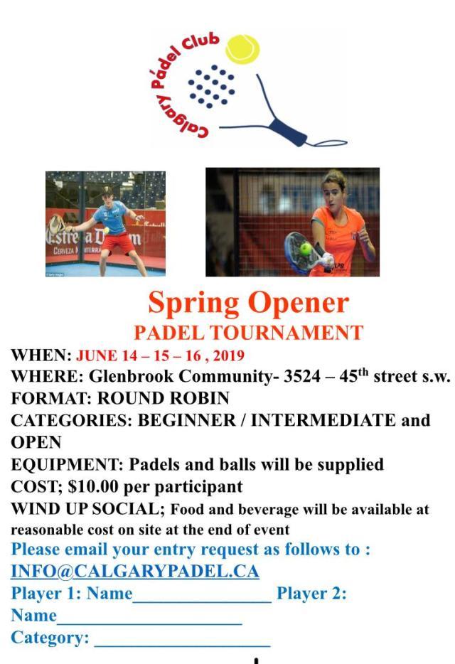 Calgary Padel Club Spring Tournament 2019