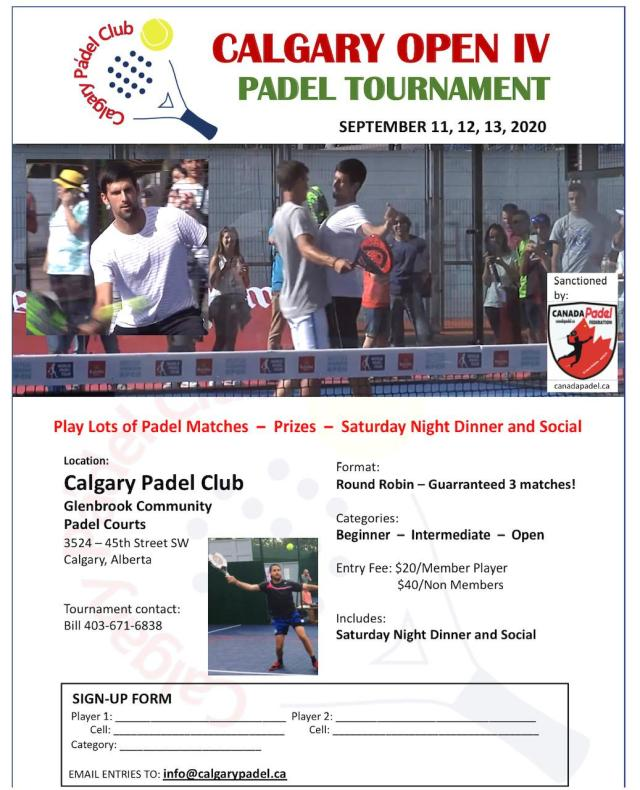Calgary Open Padel Tournament
