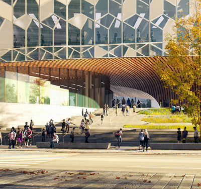 Rendering of the facade of the Calgary Public Library to open in 2018