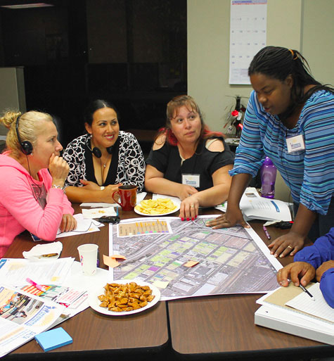 Environmental-Health-Coalition-reviewing-maps-drawings