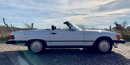 Cali-Cars 1988 Mercedes Benz 560 SL Roadster Arctic White/Burgundy