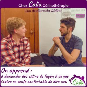 Chez Calia Calinotherapie. On apprend à demander le consentement.