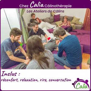 Chez Calia Calinotherapie. Inclus: réconfort, relaxation, rire, conversation