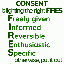 Consent is lighting the right FIRES (Freely given, Informed, Reversible, Enthusiastic, Specific) otherwise, put it out