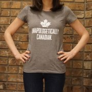 Unapologetically Canadian Womens Tshirt Grey Front