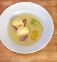 Duck Consommé with Tortelonni at Pico Los Alamos