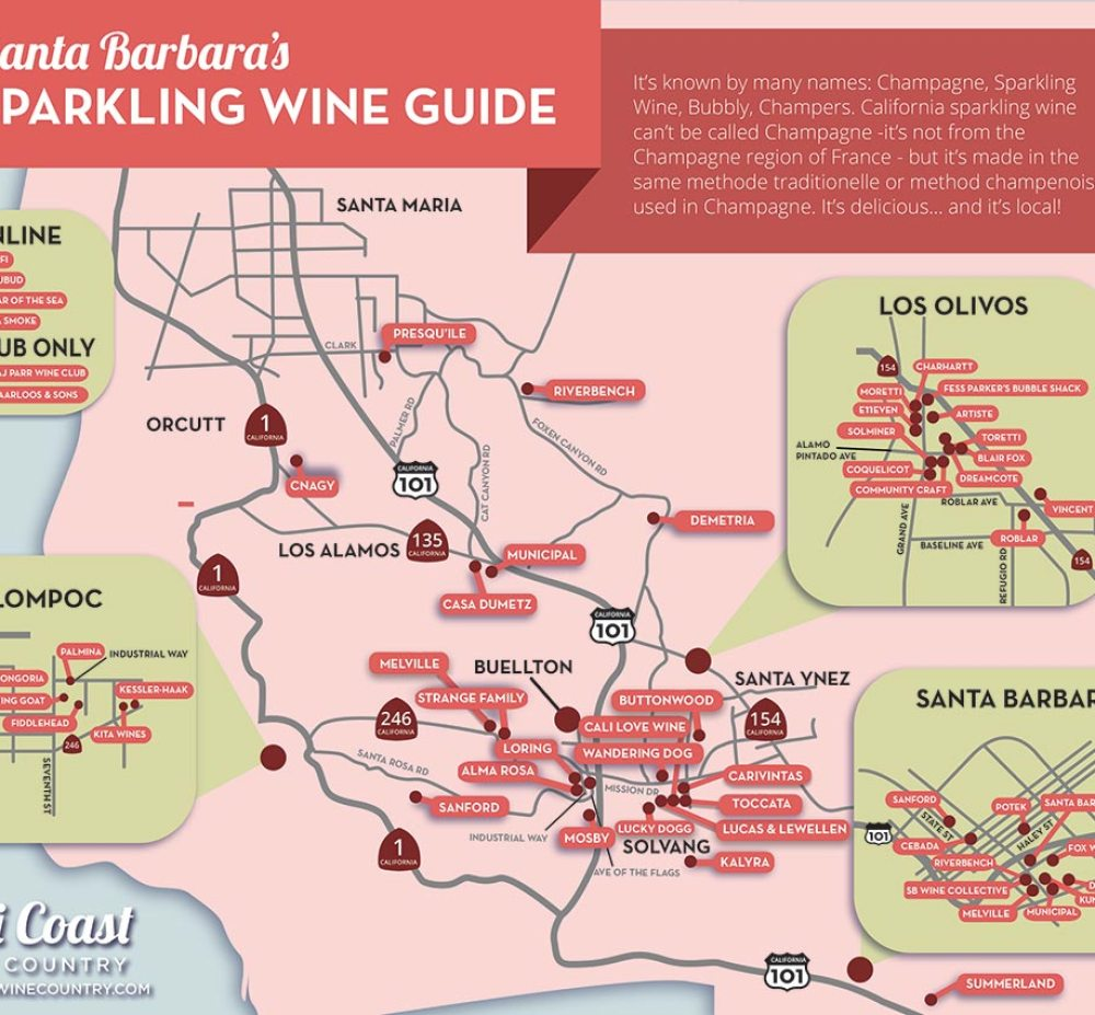 Santa Barbara county Sparkling Wine Map & Trail