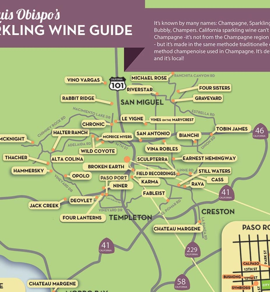Paso Robles Wine Map San Luis Obispo Sparkling Wine Guide: a Champagne Lover's Map