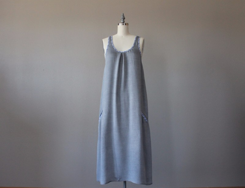 Rayon Tunic Dress with Bias Tape and Welt Pockets front